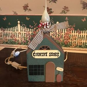 Country Store Salt Box Wood Accent Light.